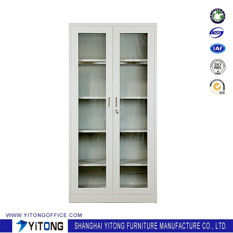 China 2 Door Glass Door Metal Storage Cabinet Office Use Steel