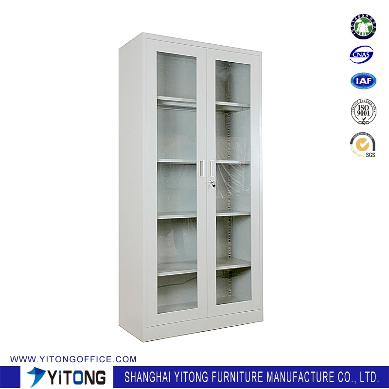 2-Door Glass Door Metal Storage Cabinet / Office Use Steel File Cabinet