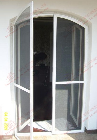 China Aluminium Arch Steelwire Mesh Flyscreen Door (BHN CD08)   China  Mosquito Net, Window Screen