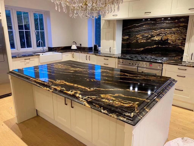 [Hot Item] Black Gold Marble/Granite Countertop for Kitchen  Cabinets/Table/Furniture/Bathroom Vanity/Vanities