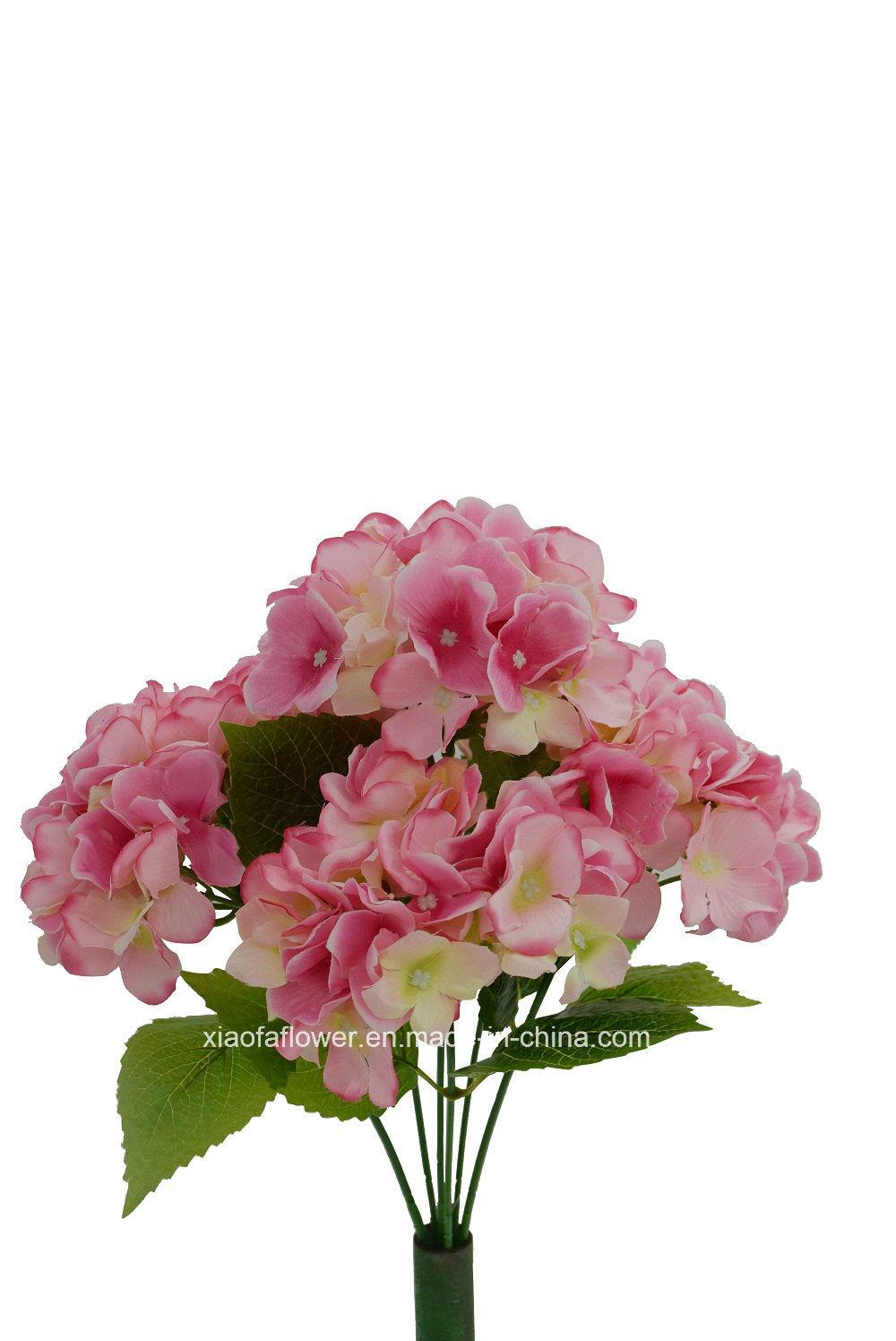 China Artificialplasticsilk Flower Hydrangea Bush 27h7502