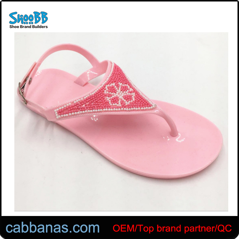 58006e939b43 China Pink Fashion Pearl Decor Beach Shower Jelly Thong Flip Flops Girls′  Slippers for Children Kids - China Sliders