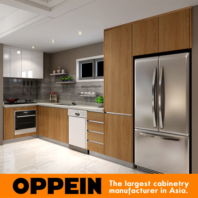 China Oppein Modern Wood Grain Melamine Lacquer Wood Kitchen Cabinet
