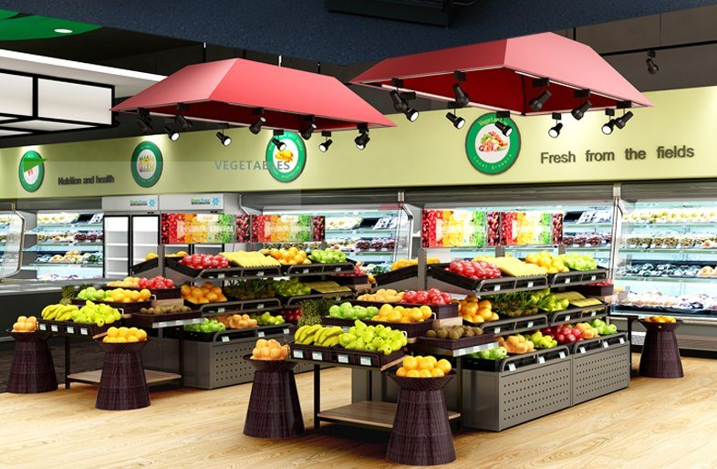 Waterfall Fruit And Veggie Displays: China Grocery &Convenience Store &Supermarket Fruit