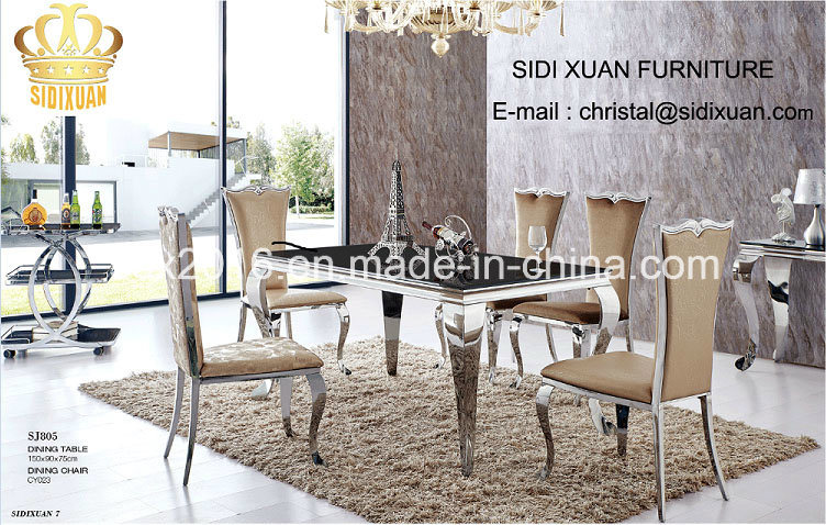 Hot Item Dining Table Sets Gl 6 Chair Modern Stylish Room Set Furniture