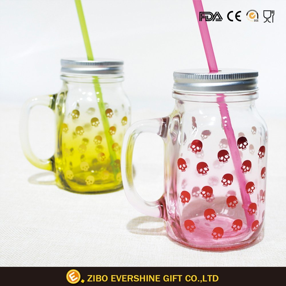 Skull Decal Glass Juice Bottle Storage Mason Glass Jar pictures & photos