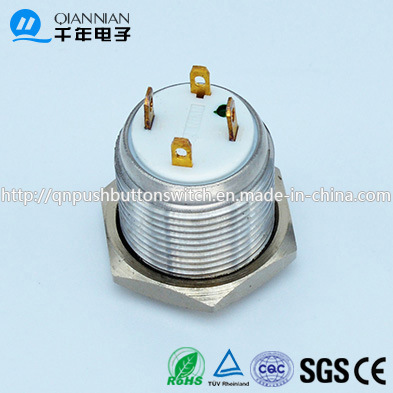Qn16-D8 16mm Character Illuminated Type Momentary Flat Head Pin Terminal Waterproof Metal Push Button Switch