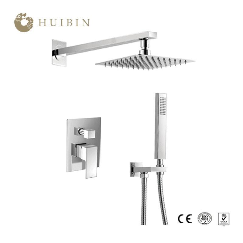 Hot Item Bathroom Luxury Rain Mixer Shower Combo Set Wall Mounted Rainfall Shower Head System Polished