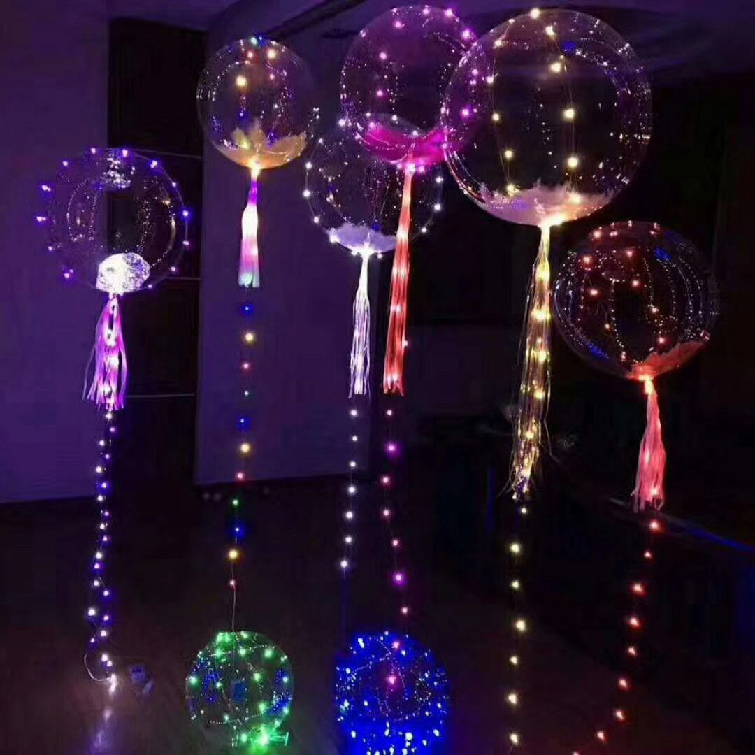 China Bobo Clear Balloons with LED Silver Wire Light for Party ...