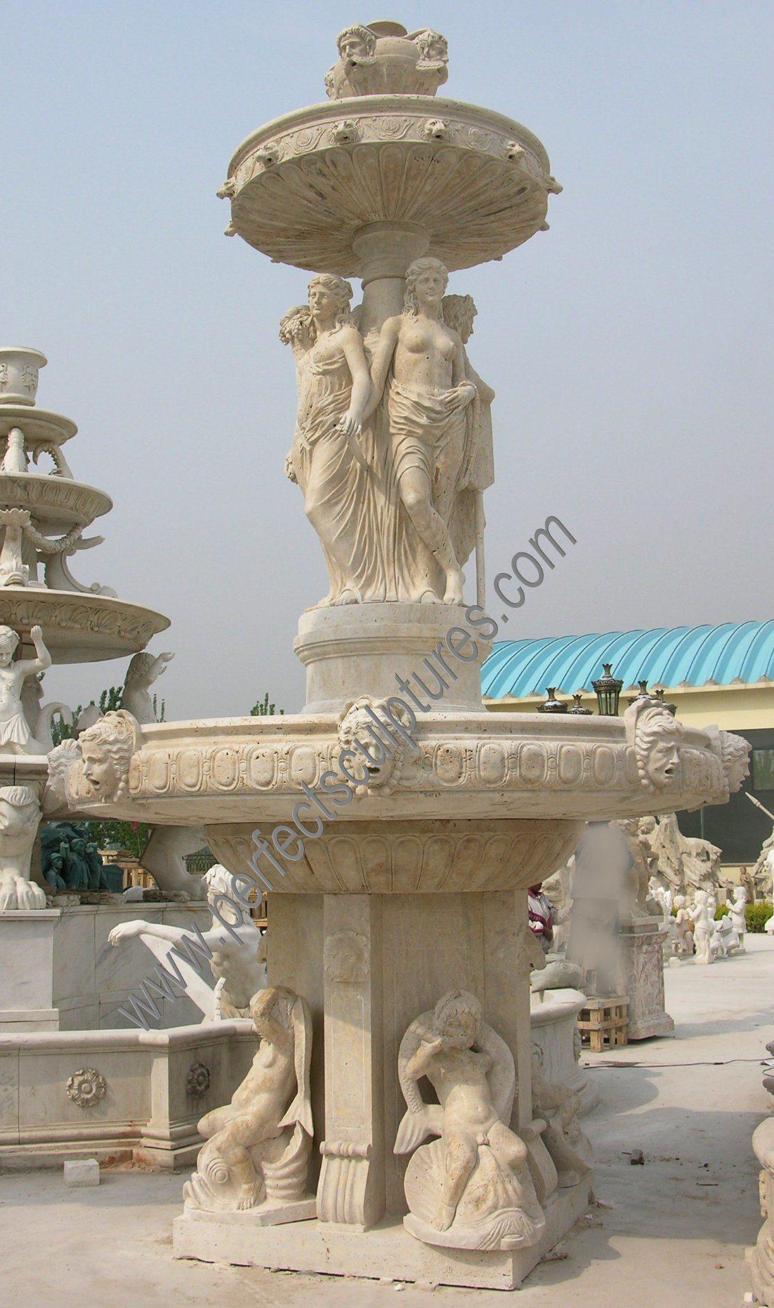 Outdoor Garden White Marble Water Fountain China Supplier