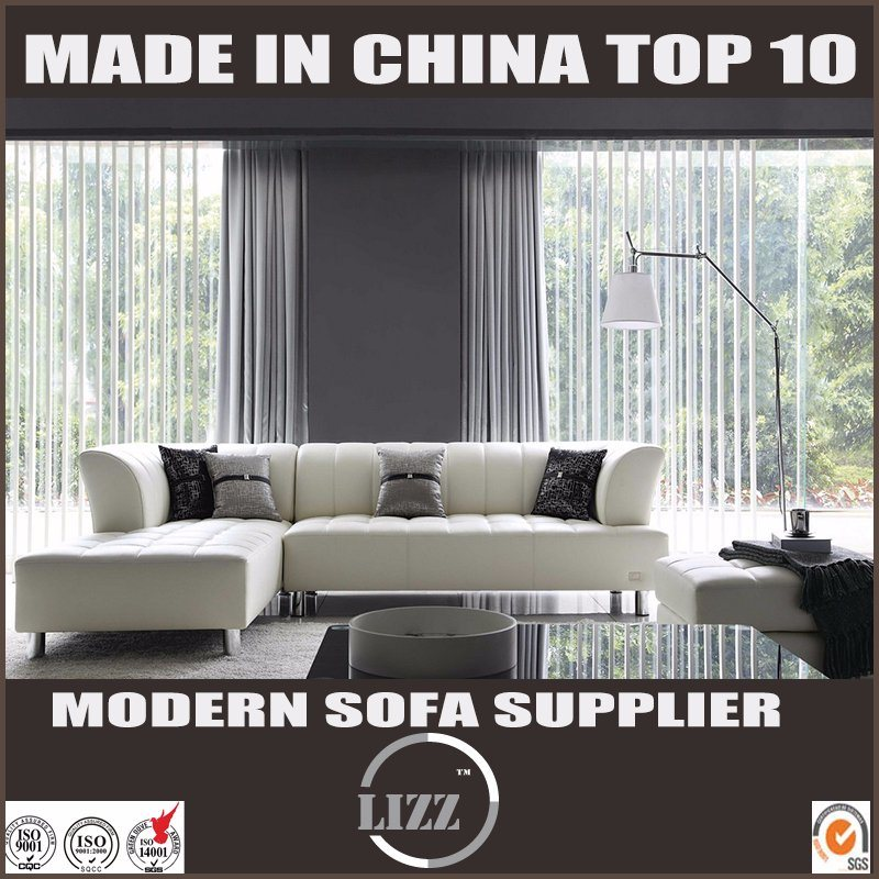 Hot Item Chinese Supplier White Leather L Shape Sofa