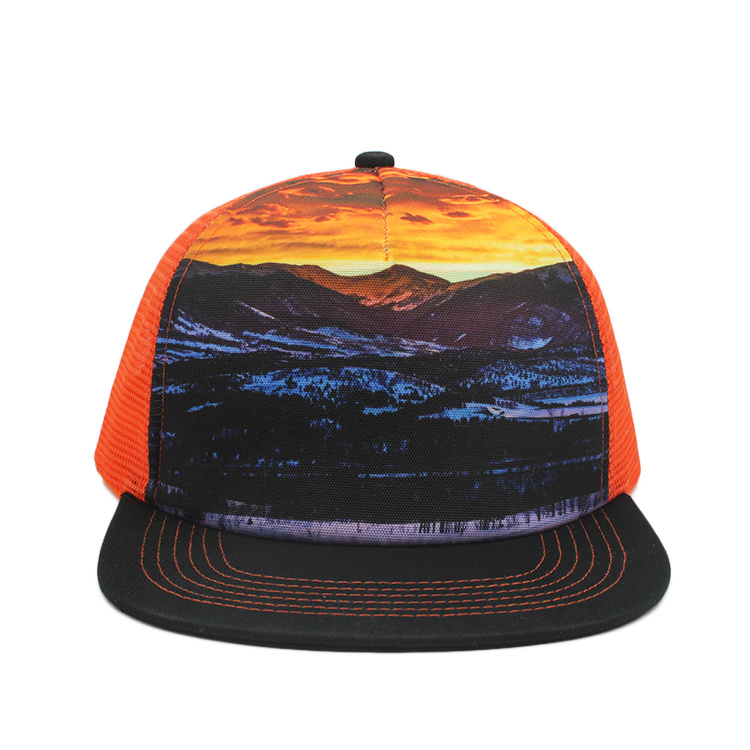 d1b7af4ce7d4c China Sublimation Print Flat Bill Snapback Trucker Mesh Hat Photos ...