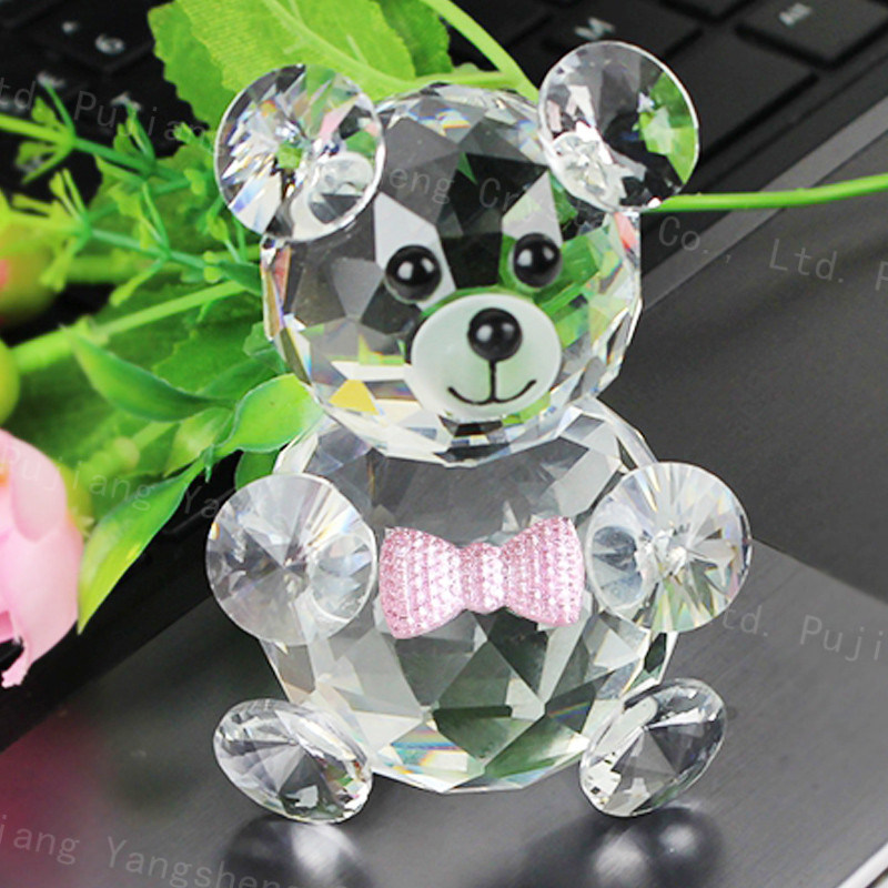 China Wedding Favors Crystal Teddy Bear Figurine For Wedding Door