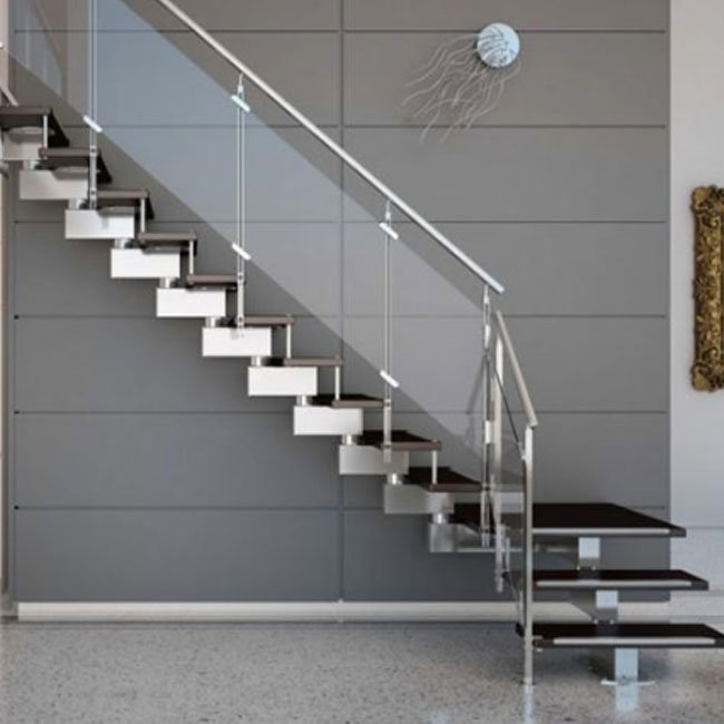 China Modern Villa Design Double Stringers Zig Zag Beam Steel Wood Stair Photos Pictures Made In China Com