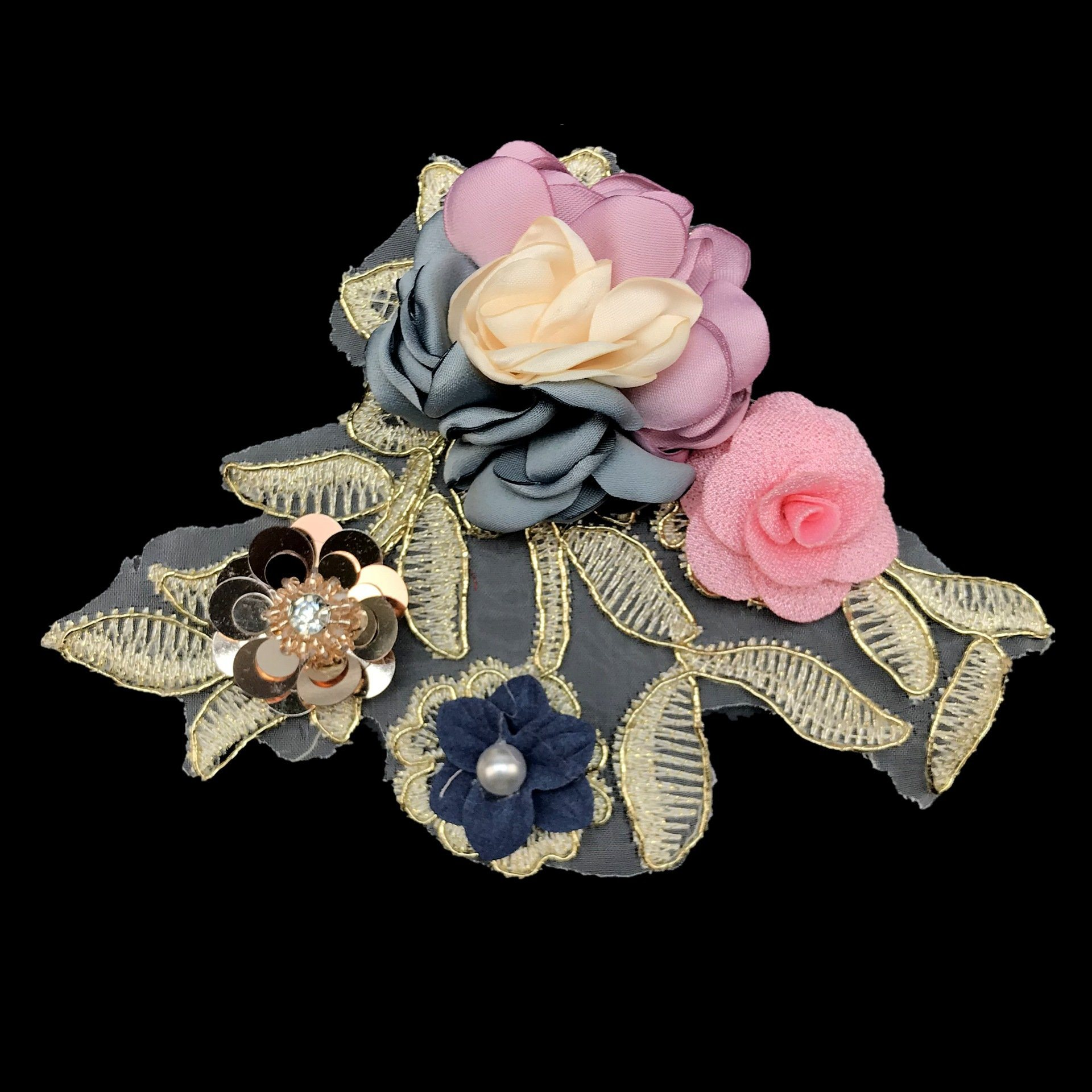 3D White Rose Flower Embroidery Iron On Applique Patch