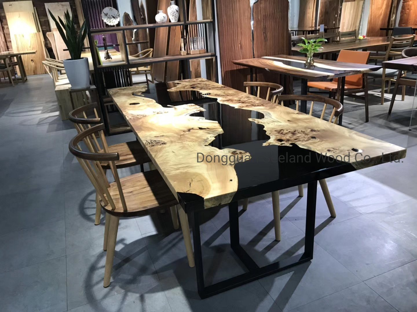 China Custom Size Solid Wooden Coffee Table Walnut Butcher Block Top Epoxy Resin Table Natural Wood Table Epoxy Dining Table With Live Edge China Wood Slab Live Edge