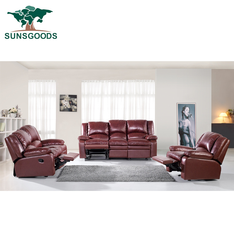 Genuine Leather Sofa Set With 5