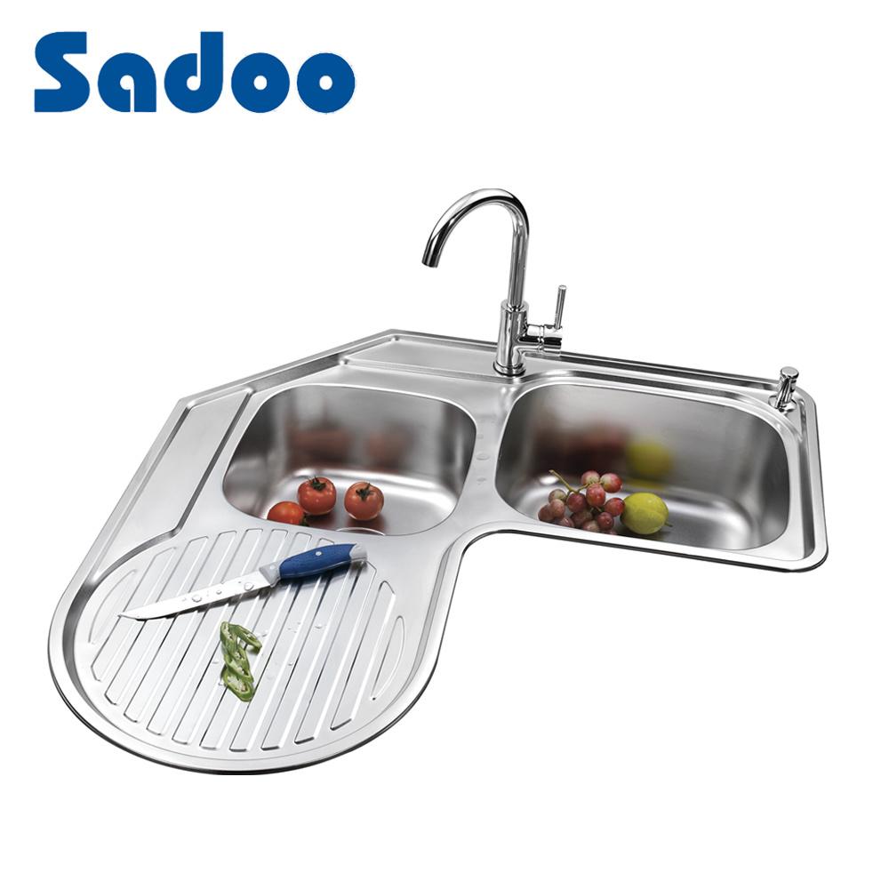 Hot Item Corner Kitchen Sinks With Drainboard Sd 995