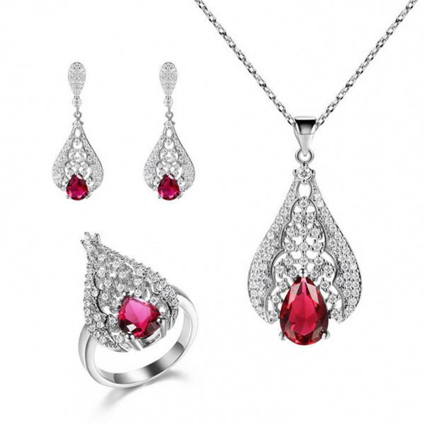 Red Crystal 925 Sterling Silver Jewelry Set Gemstone Jewelry
