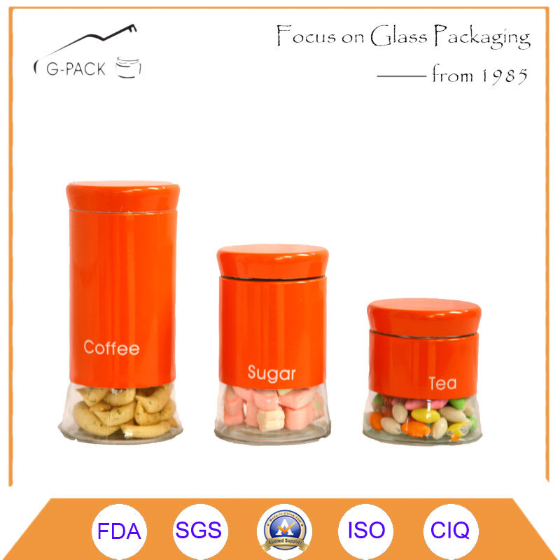 China Tea Coffee Sugar Kitchen Storage Canisters Jars Pots Containers Set,  OEM Available   China Kitchen Canister, Glass Canister