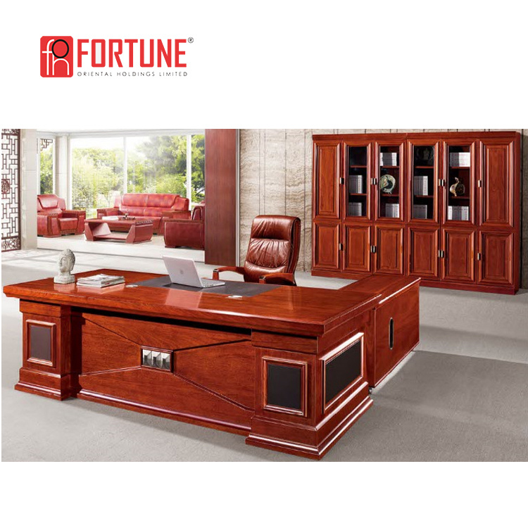 China Luxury Design Red Cherry Wood Big Boss Office Desks Desk