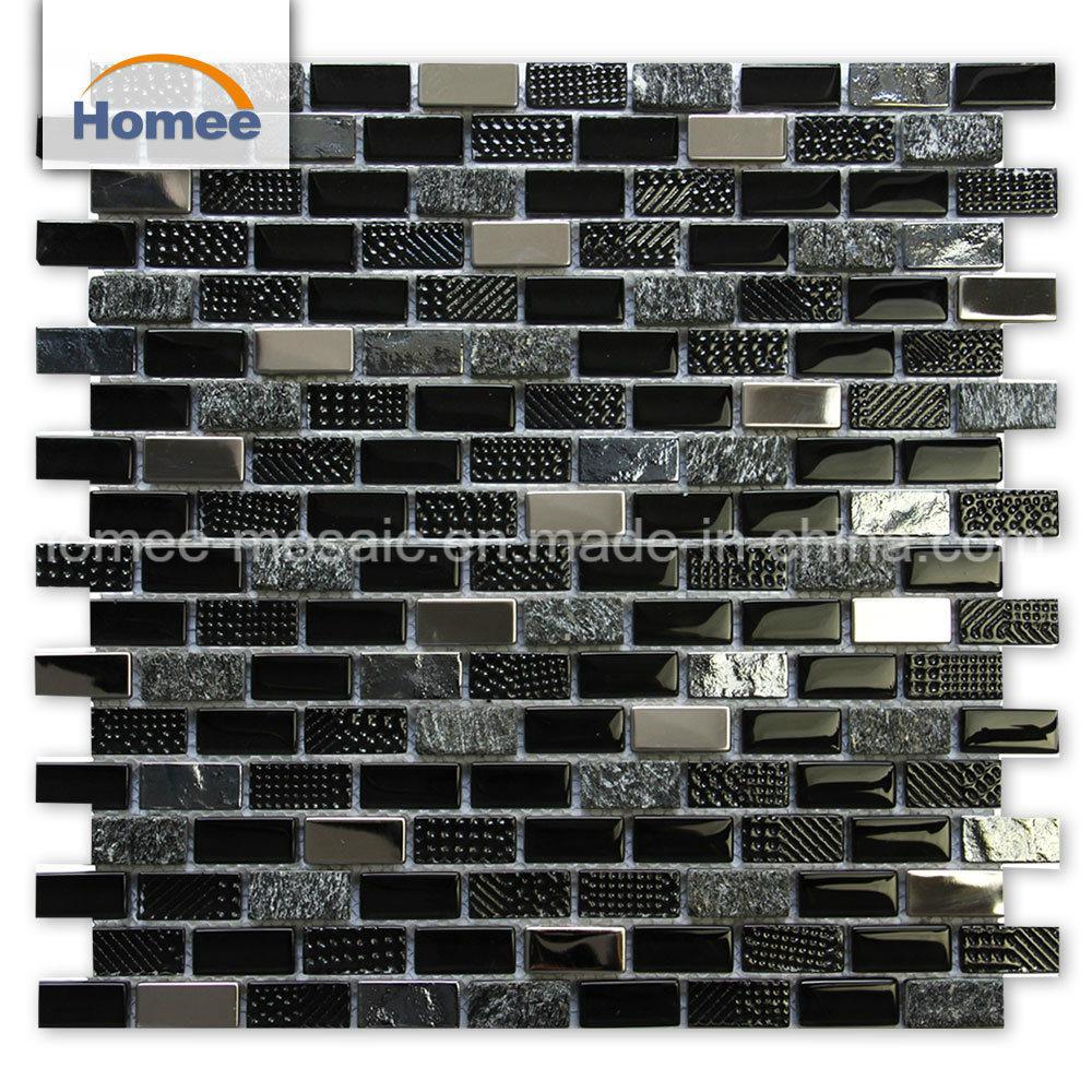 - China Cheap Kitchen Backsplash Texture Strip Blend Stone Black