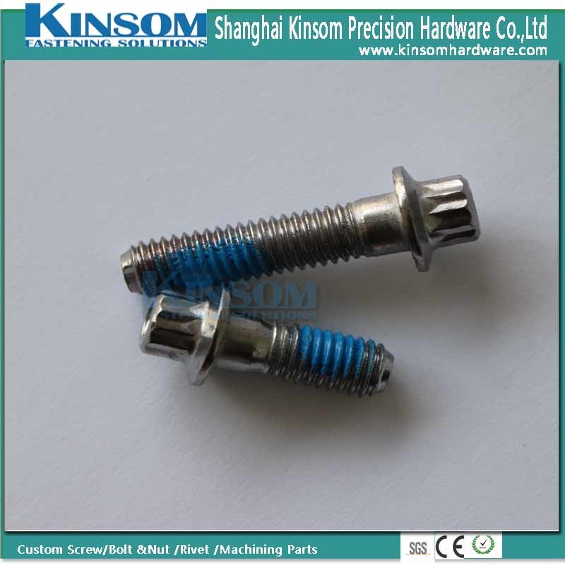 Special Stainless Steel 304 Knurled Six Lobe Flange Bolt with Blue Nylock Nylon Coating pictures & photos