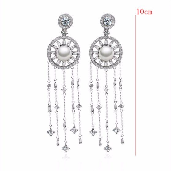 f84b482f17d42 [Hot Item] Fashion Pearl Silve Rhodium Plated Hanging Chain Earring Silk  Thread Earrings