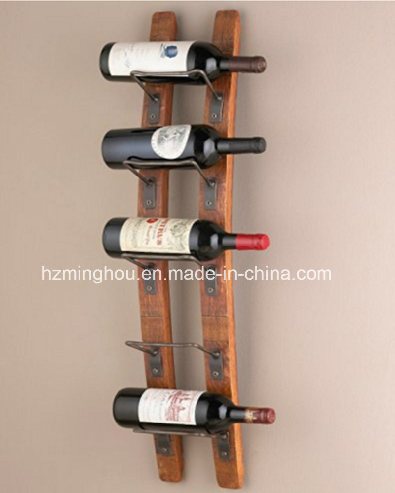 China Practical Eco Friendly 5 Bottle Wall Mounted Wooden Wine