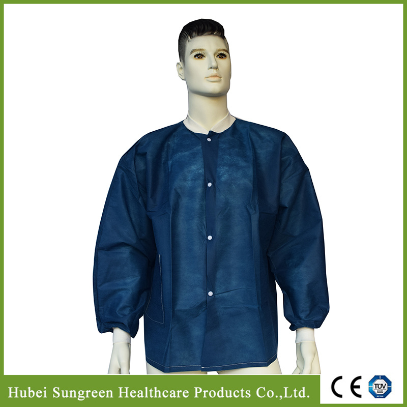 Disposable Dark Blue SMS Jacket with Knitted Cuffs and Collar