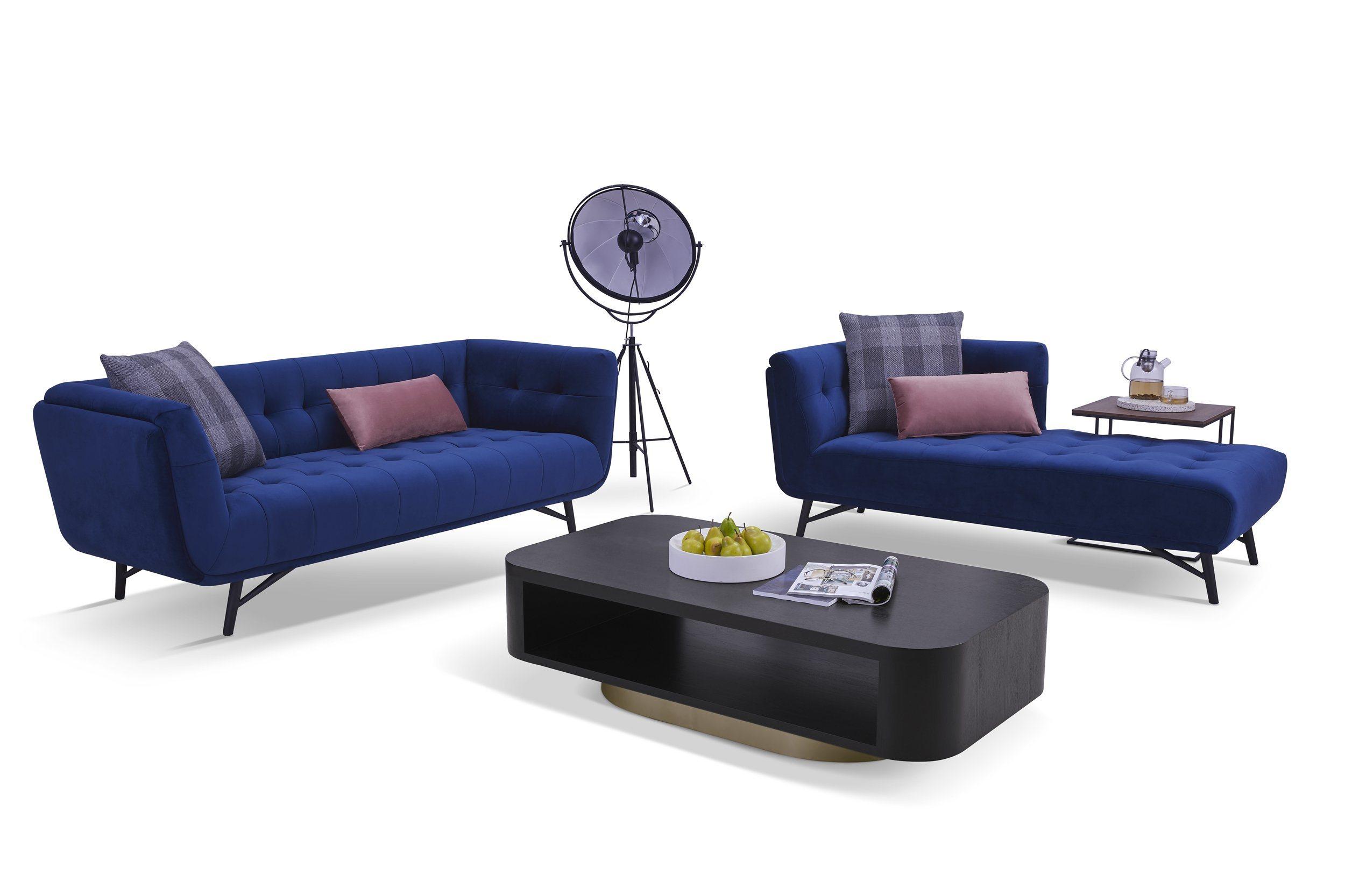 Blue Color Living Room Fabric Sofa Set