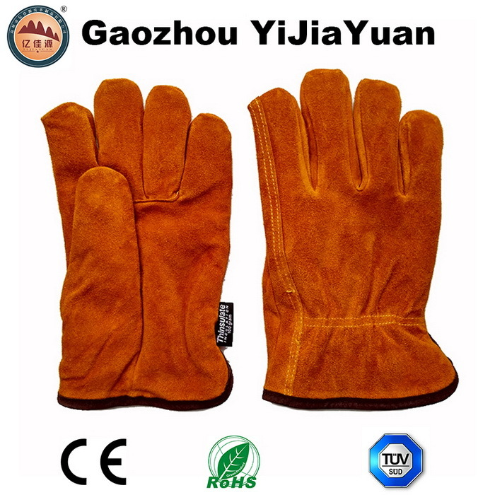 Thinsulate Full Lining Leather Safety Winter Driving Gloves pictures & photos