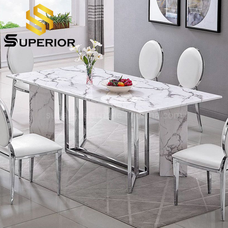 China Elegant White Granite And Marble Top Dining Table Stainless Steel China Marble Dining Table Modern Table