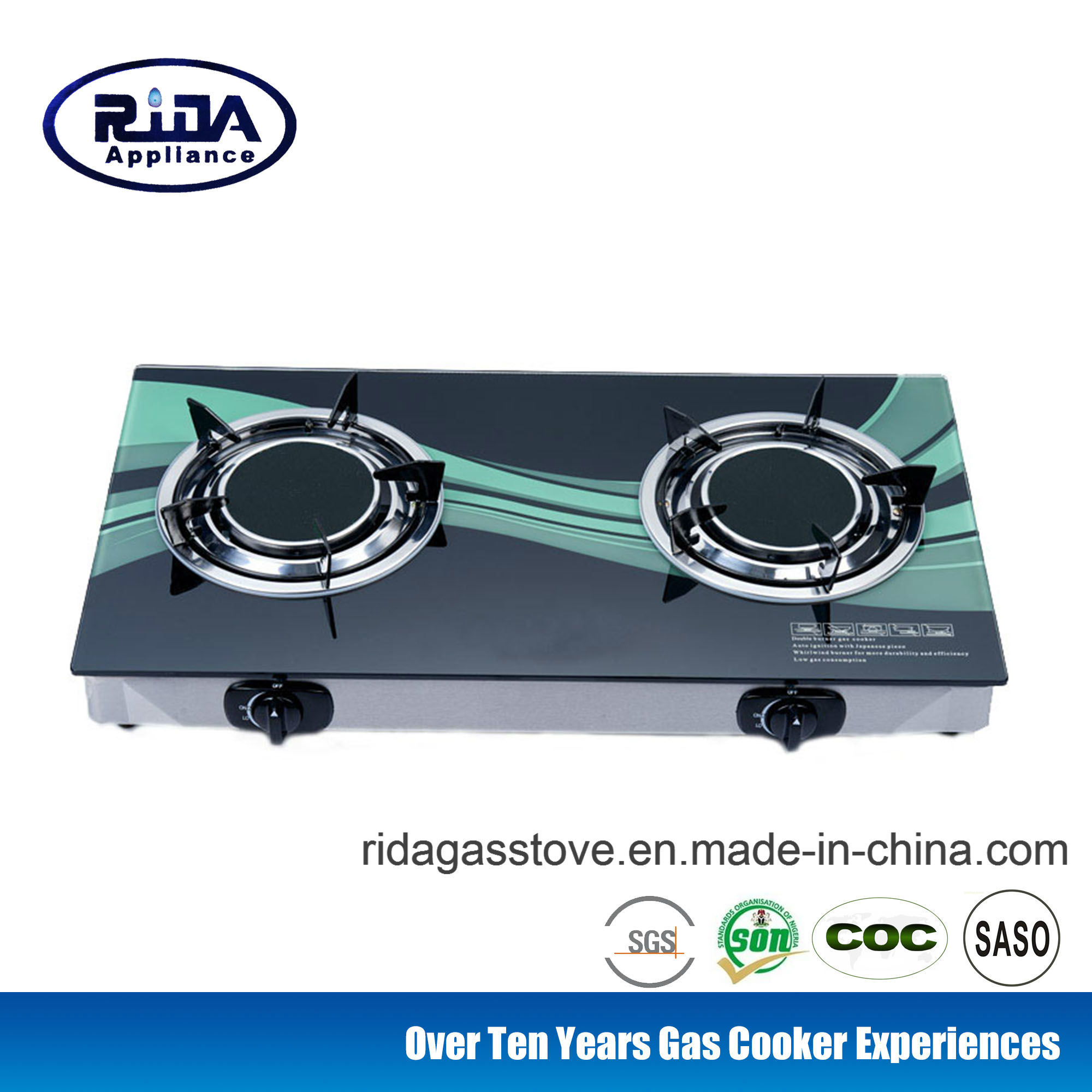 Hot Item Low Price Infrared Double Burner Tempered Gl Tabletop Gas Cooker