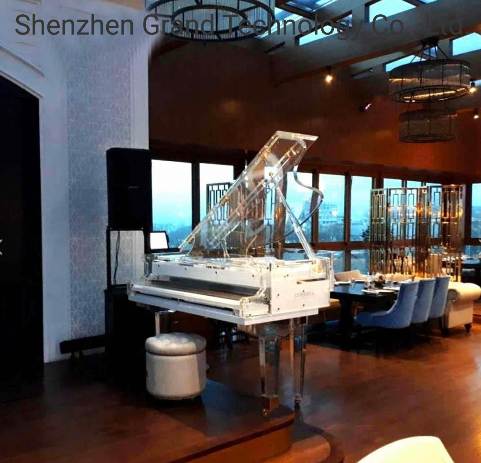 [Hot Item] Music Instrument Luxury Hotel Acrylic Grand Piano Bar Grand 170  with Pianodisc Iq Player System