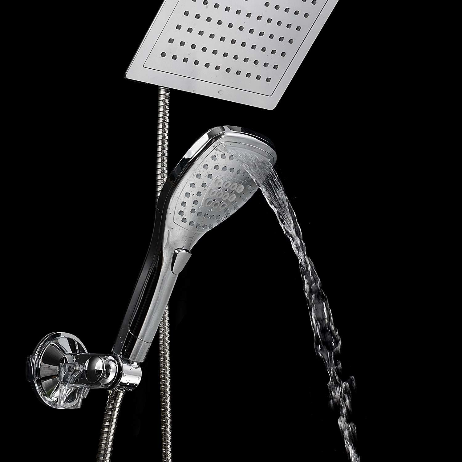 Hot Item 12 Quad Function Rainfall Jet Shower Head Wand Combo In Chrome