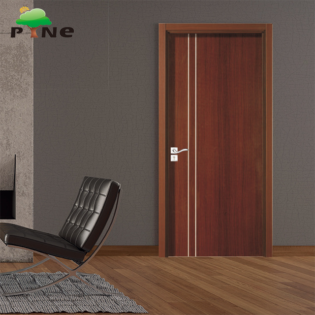 China Decoration Line Design Mdf Hdf Pvc Veneer Foil Hollow Core Soundproof Modern Apartment Wooden Door Plush Flush