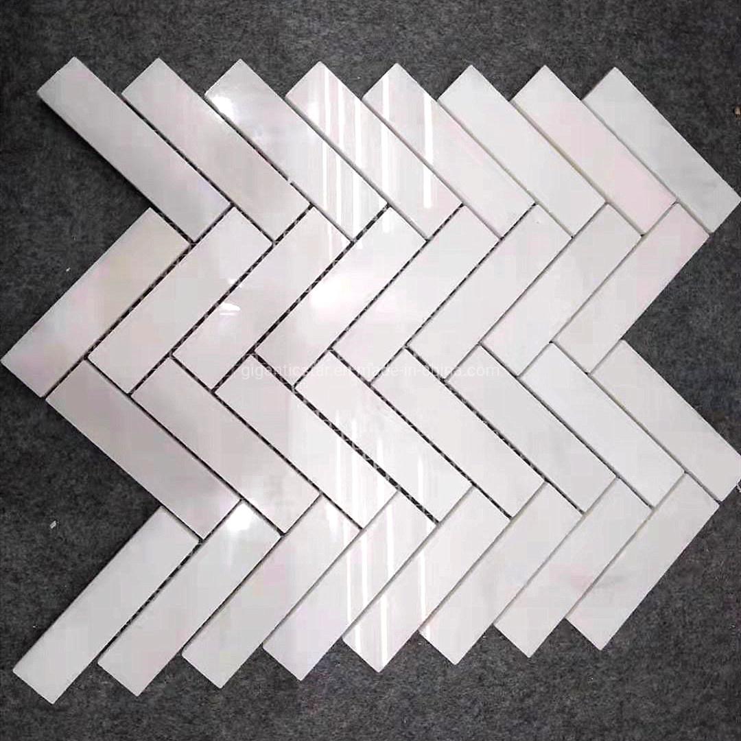 China Polished East White Jade Luxury Calcite Marble Herringbone Mosaic Tile For Floor Wall Countertop Backsplash Of Kitchen Bathroom China Marble Mosaic Stone Mosaic