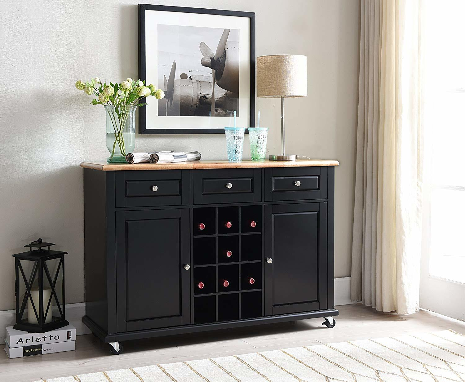 Picture of: Chinese Furniture Wooden Buffet Wooden Kitchen Cabinet Easy Assembly Black Wine Rack Buffet Sideboard With Storage China Modern Kitchen Cabinet Antique Reproduction Furniture