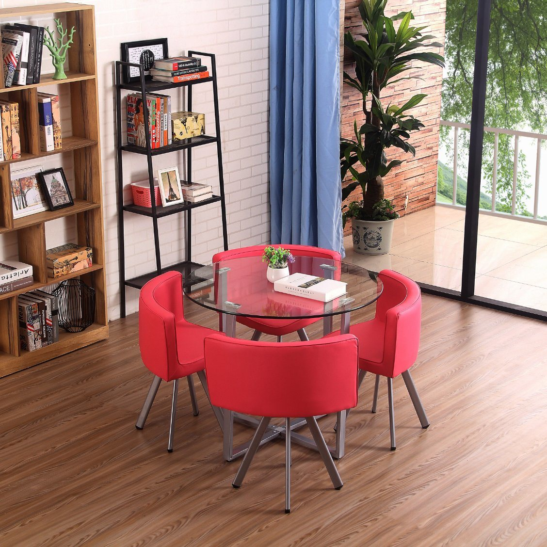 China Hot Sale New Simple Modern Glass Top Table And Chair Sets Model Dining Table Sets With 4 Chairs Pu Or Leather Chair China Dining Table Sets Table And Chair Sets