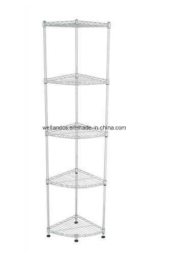 Corner Wire Shelf | China Home Storage 5 Tiers Chrome Metal Fan Shaped Corner Wire Rack