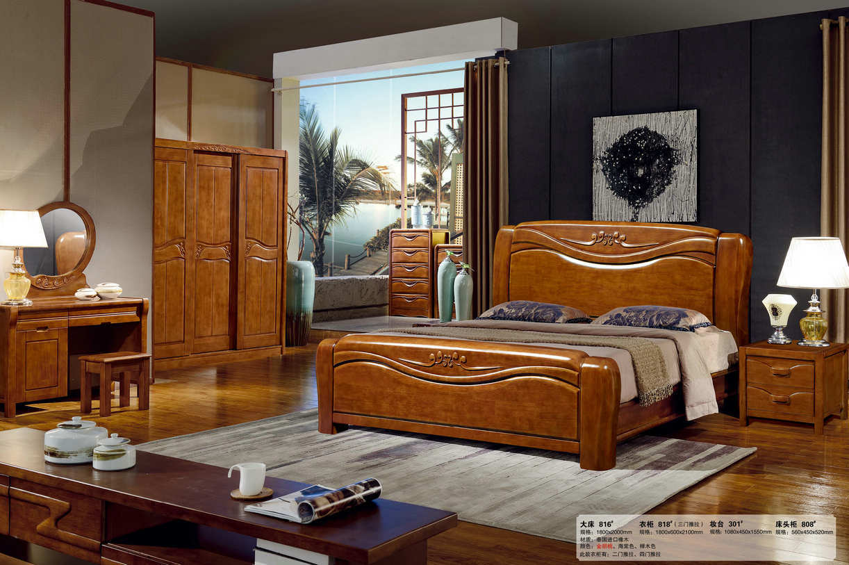 chinese bedroom furniture. Chinese Oak Wood Bedroom Furniture, Wooden Hotel Bed (803) Furniture T