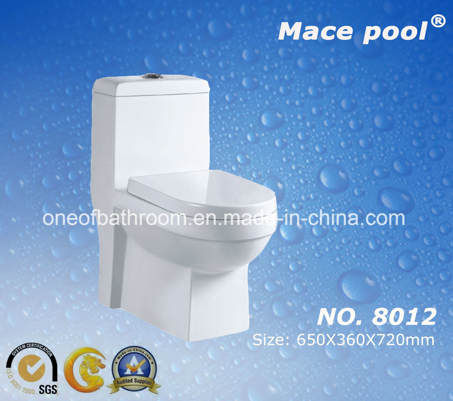 China Super Siphonic One Piece Water Closet Ceramic Toilet (8012 ...