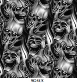 [Hot Item] Water Transfer Printing Film/ Hydrographic Film/ Hydro Dipping  Film Skull Pattern Item No : Ws038js