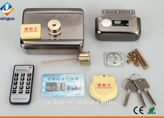 China Remote Control Electric Door Lock With Swiping Card For Doors Rim