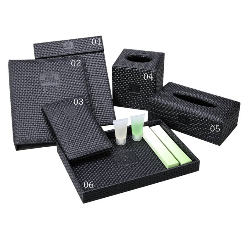 Black Straw Mat Rectangle Facial Napkin Storage Tissue Box