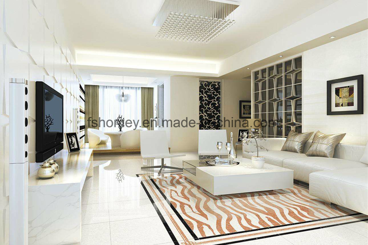 China White Polished Porcelain Flooring Tile For Living Room Photos