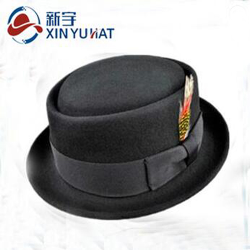 528a9580b43 Wholesale Classic Men Wool Pork Pie Hat with Feather Decoration
