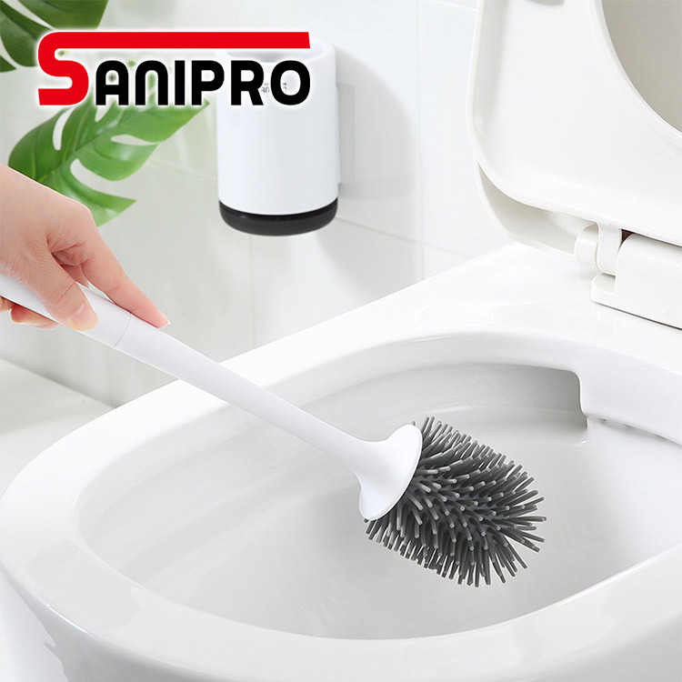 1PC Toilet Brush Holder Set Household Cleaning Supplies Standing Stainless Steel