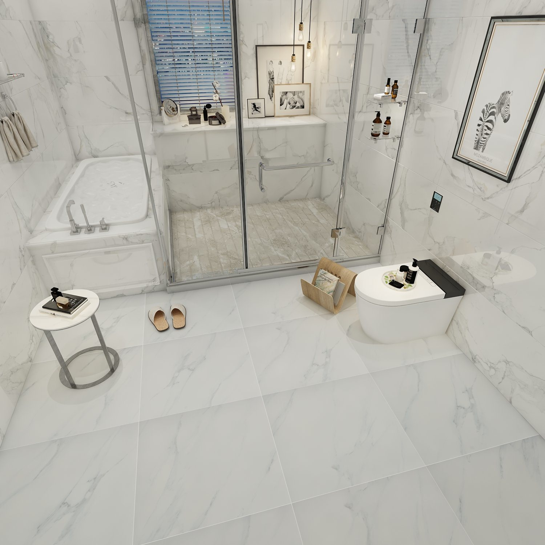 China 24 Inch White Square Carrara Marble Bathroom Floor Tile Sale China Floor Tile Ceramic Porcelain Tile